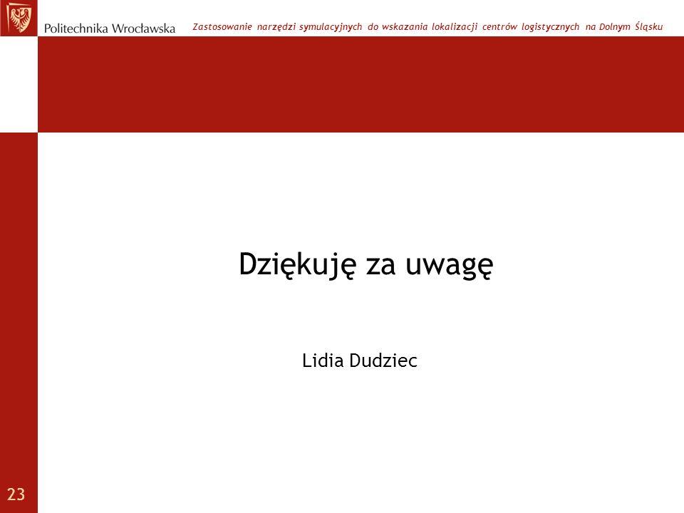 Dziękuję za uwagę Zastosowanie narzędzi symulacyjnych do wskazania lokalizacji centrów logistycznych na Dolnym Śląsku Lidia Dudziec 23