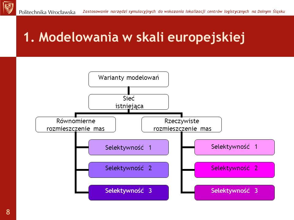 1. Modelowania w skali europejskiej Warianty modelowań Sieć istniejąca Równomierne rozmieszczenie mas Selektywność 1 Selektywność 2 Selektywność 3 Rze