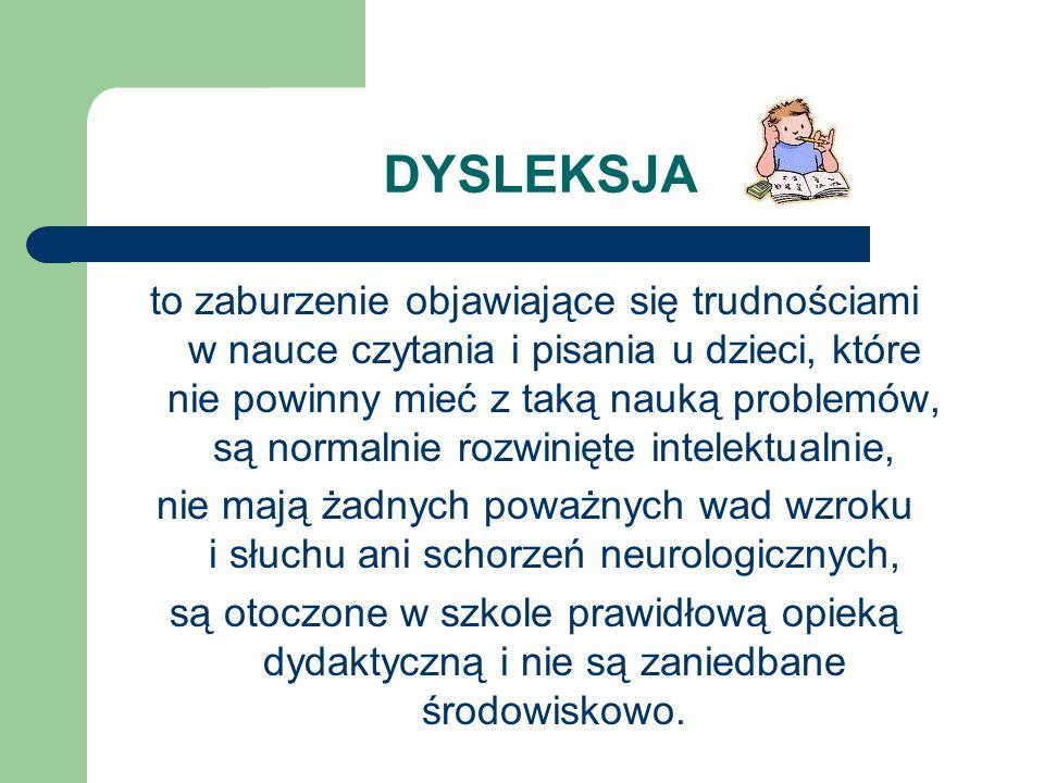 PRZYCZYNY DYSLEKSJI nie zostały do tej pory dokładnie poznane, choć wykryto i opisano liczne cechy różniące dyslektyków od nie-dyslektyków, takie jak inny rozkład aktywności części mózgu w czasie wykonywania prostych zadań językowych.