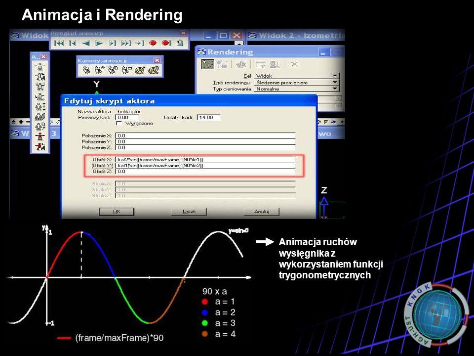Animacja i Rendering Programy Animacja ruchów wysięgnika z wykorzystaniem funkcji trygonometrycznych