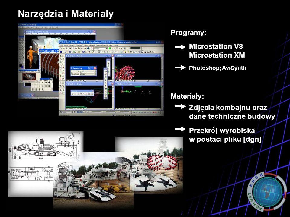 Narzędzia i Materiały Programy Programy: Microstation V8 Microstation XM Photoshop; AviSynth Materiały: Zdjęcia kombajnu oraz dane techniczne budowy P