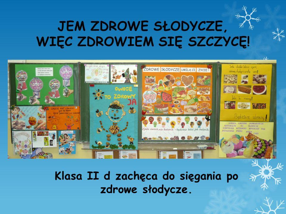 Plakat Jagody, Ani, Natalii i Uli – zwycięska praca w klasowym konkursie na najlepszą reklamę zdrowych słodyczy, wykonana z orzechów i suszonych owoców.