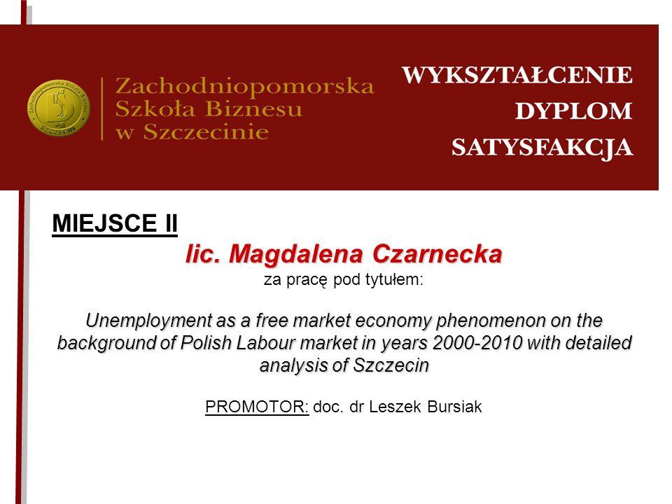 MIEJSCE II lic.Magdalena Czarnecka lic. Magdalena Czarnecka za pracę pod tytułem: Unemployment as a free market economy phenomenon on the background o