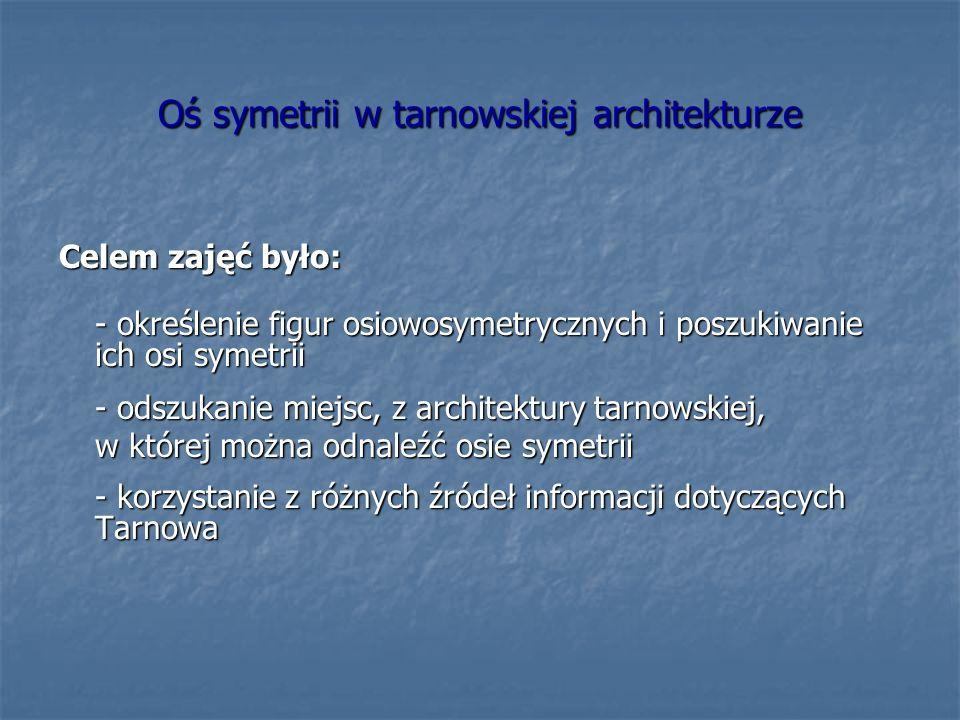 Oś symetrii w tarnowskiej architekturze Celem zajęć było: - określenie figur osiowosymetrycznych i poszukiwanie ich osi symetrii - odszukanie miejsc, z architektury tarnowskiej, w której można odnaleźć osie symetrii - korzystanie z różnych źródeł informacji dotyczących Tarnowa