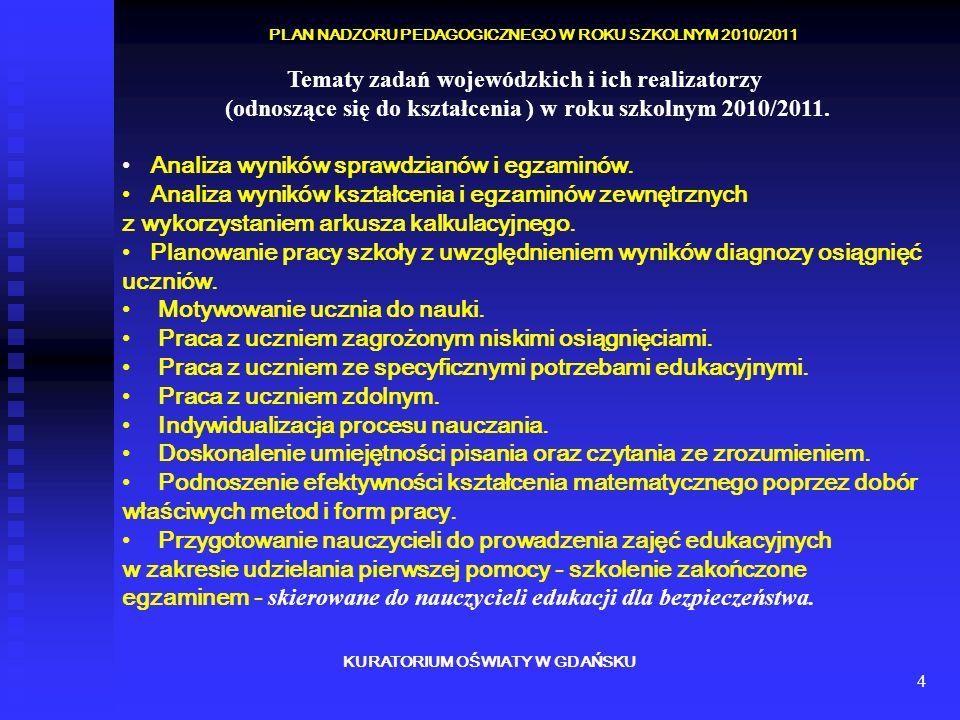 4 KURATORIUM OŚWIATY W GDAŃSKU PLAN NADZORU PEDAGOGICZNEGO W ROKU SZKOLNYM 2010/2011 Tematy zadań wojewódzkich i ich realizatorzy (odnoszące się do kształcenia ) w roku szkolnym 2010/2011.