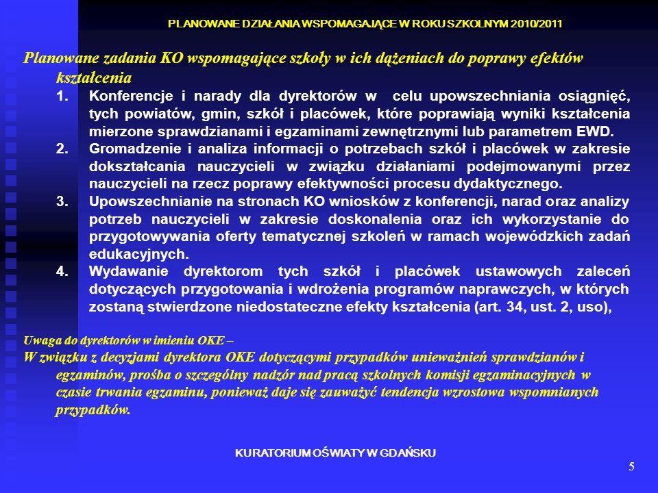 6 KURATORIUM OŚWIATY W GDAŃSKU PLAN NADZORU PEDAGOGICZNEGO W ROKU SZKOLNYM 2010/2011 Programy krajowe i rządowe 1.