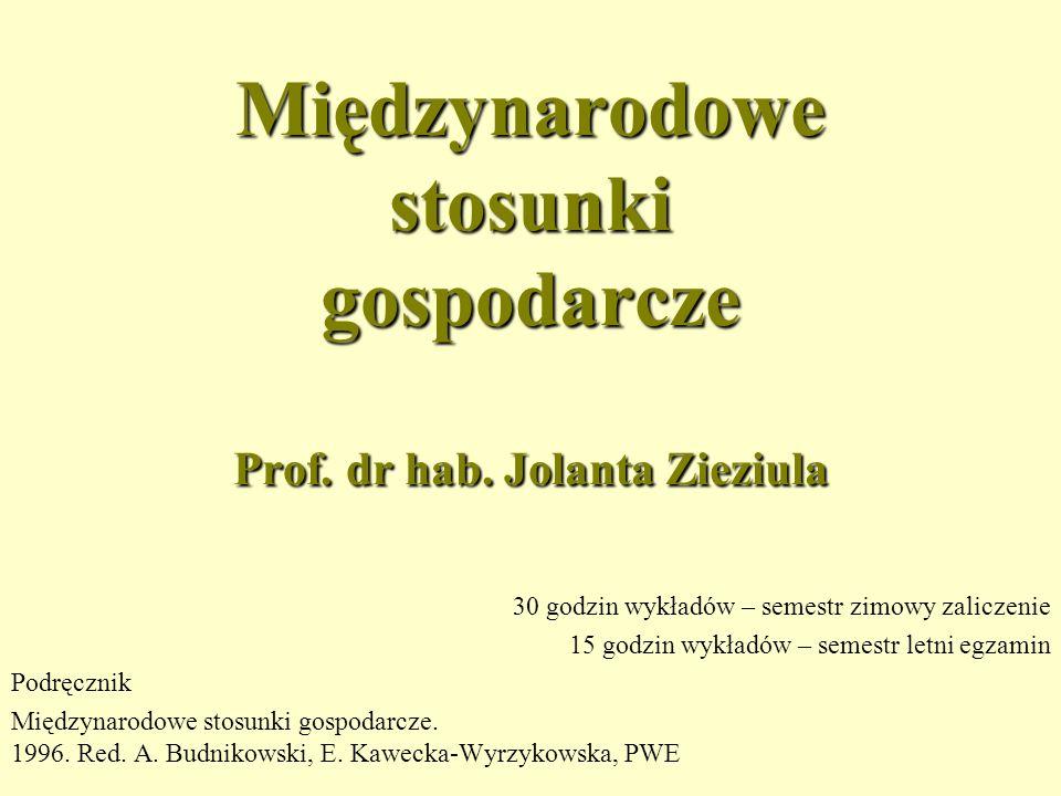 Międzynarodowe stosunki gospodarcze Prof.dr hab.
