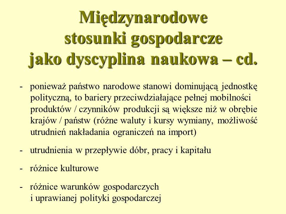 Międzynarodowe stosunki gospodarcze jako dyscyplina naukowa – cd.