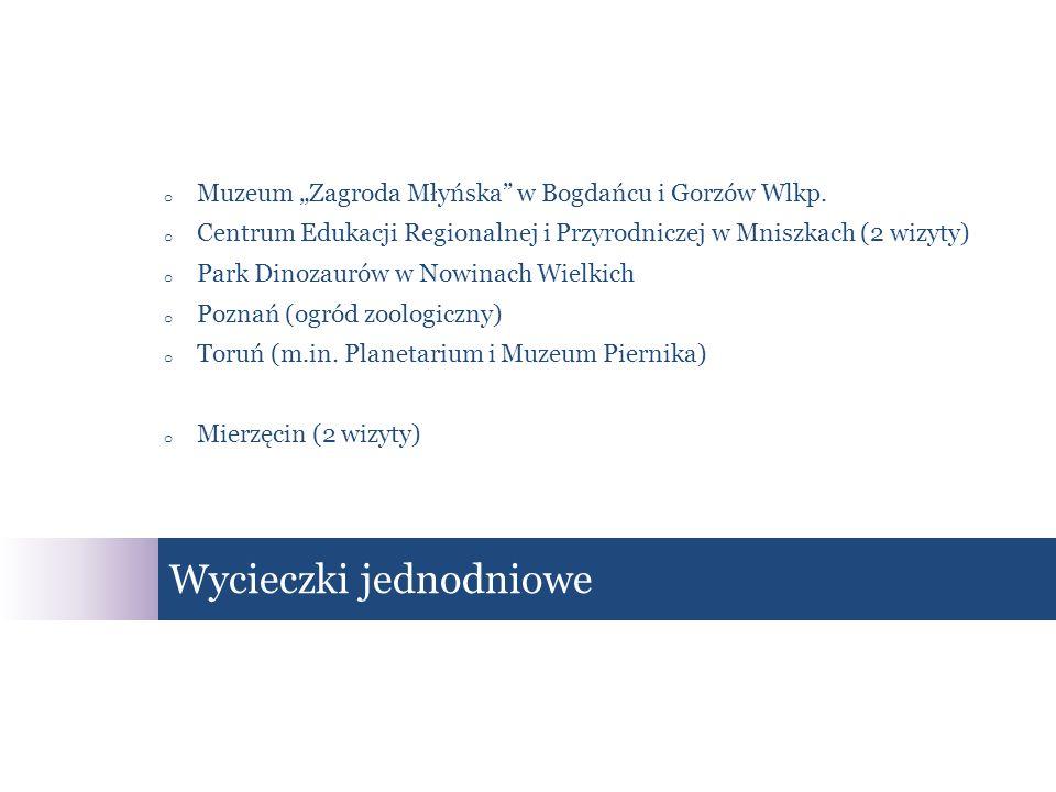 o Muzeum Zagroda Młyńska w Bogdańcu i Gorzów Wlkp. o Centrum Edukacji Regionalnej i Przyrodniczej w Mniszkach (2 wizyty) o Park Dinozaurów w Nowinach