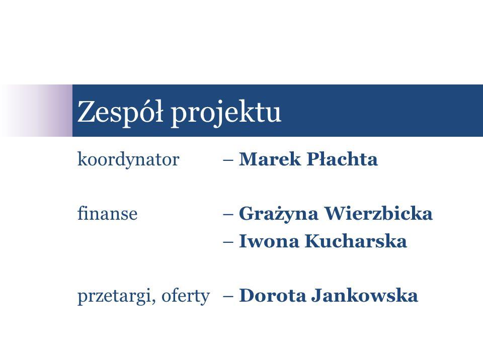 koordynator – Marek Płachta finanse– Grażyna Wierzbicka – Iwona Kucharska przetargi, oferty– Dorota Jankowska Zespół projektu