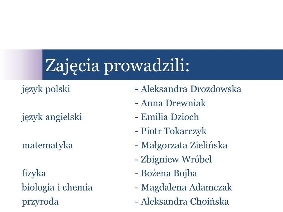 język polski- Aleksandra Drozdowska - Anna Drewniak język angielski- Emilia Dzioch - Piotr Tokarczyk matematyka- Małgorzata Zielińska - Zbigniew Wróbe