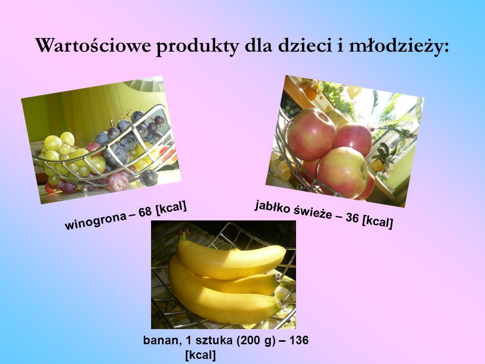 Wartościowe produkty dla dzieci i młodzieży: banan, 1 sztuka (200 g) – 136 [kcal] winogrona – 68 [kcal] jabłko świeże – 36 [kcal]