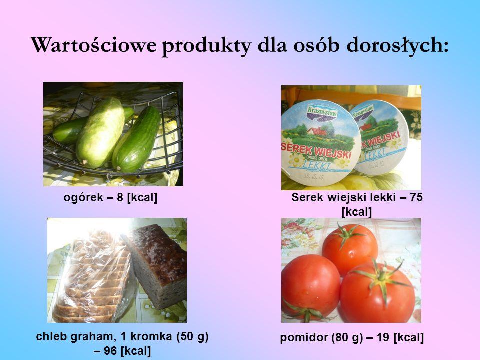 Wartościowe produkty dla osób dorosłych: ogórek – 8 [kcal] chleb graham, 1 kromka (50 g) – 96 [kcal] pomidor (80 g) – 19 [kcal] Serek wiejski lekki –