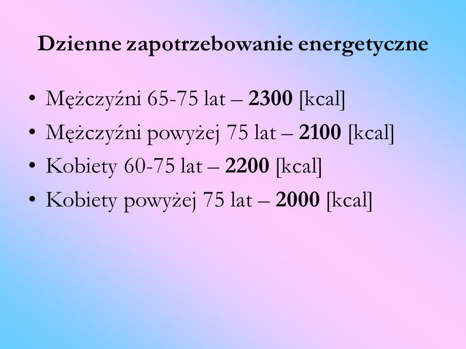 Dzienne zapotrzebowanie energetyczne Mężczyźni 65-75 lat – 2300 [kcal] Mężczyźni powyżej 75 lat – 2100 [kcal] Kobiety 60-75 lat – 2200 [kcal] Kobiety