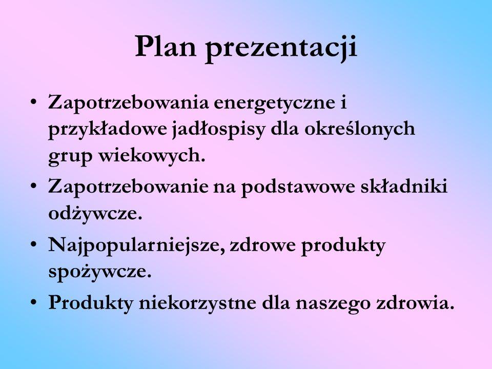 Plan prezentacji Zapotrzebowania energetyczne i przykładowe jadłospisy dla określonych grup wiekowych. Zapotrzebowanie na podstawowe składniki odżywcz