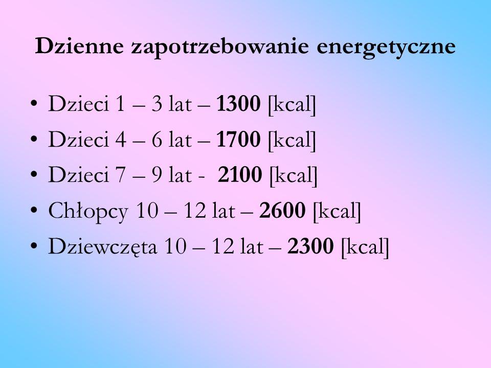 Dzienne zapotrzebowanie energetyczne Dzieci 1 – 3 lat – 1300 [kcal] Dzieci 4 – 6 lat – 1700 [kcal] Dzieci 7 – 9 lat - 2100 [kcal] Chłopcy 10 – 12 lat