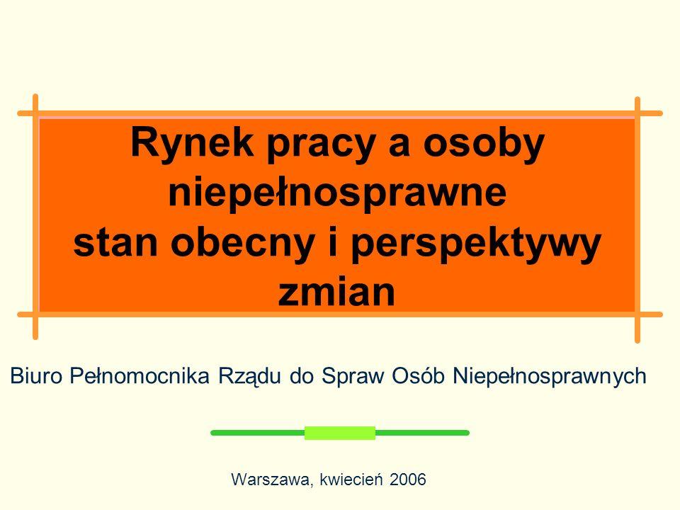 Rynek pracy a osoby niepełnosprawne stan obecny i perspektywy zmian Biuro Pełnomocnika Rządu do Spraw Osób Niepełnosprawnych Warszawa, kwiecień 2006
