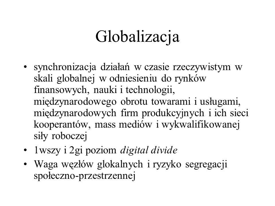 Globalizacja synchronizacja działań w czasie rzeczywistym w skali globalnej w odniesieniu do rynków finansowych, nauki i technologii, międzynarodowego