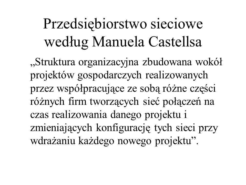 Przedsiębiorstwo sieciowe według Manuela Castellsa Struktura organizacyjna zbudowana wokół projektów gospodarczych realizowanych przez współpracujące