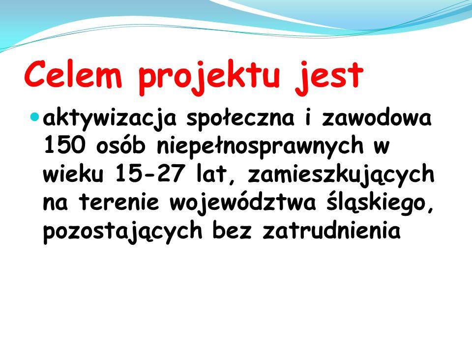 Celem projektu jest aktywizacja społeczna i zawodowa 150 osób niepełnosprawnych w wieku 15-27 lat, zamieszkujących na terenie województwa śląskiego, p