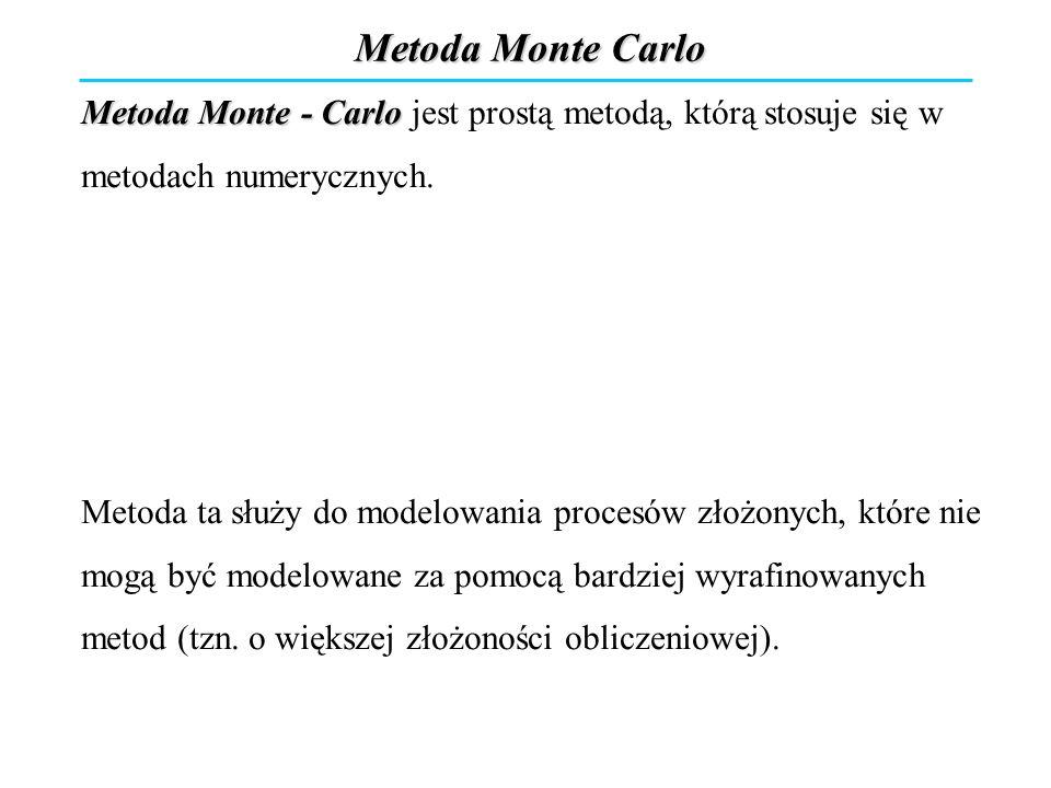 Metoda Monte Carlo Metoda Monte - Carlo jest prostą metodą, którą stosuje się w metodach numerycznych. Metoda ta służy do modelowania procesów złożony