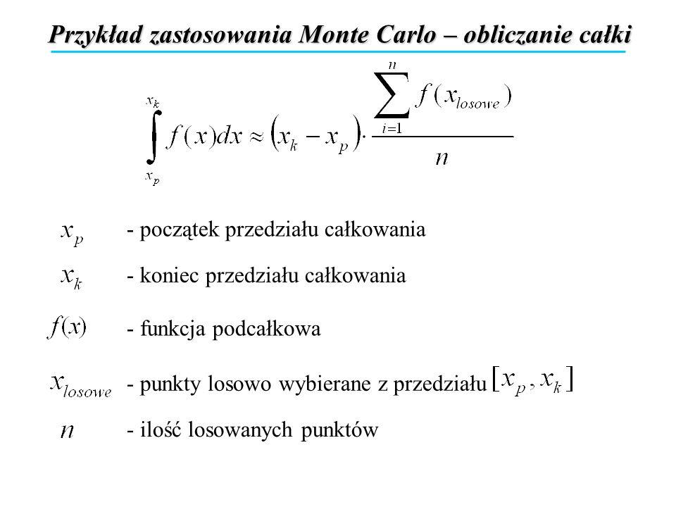 Przykład zastosowania Monte Carlo – obliczanie całki - początek przedziału całkowania - koniec przedziału całkowania - funkcja podcałkowa - punkty los