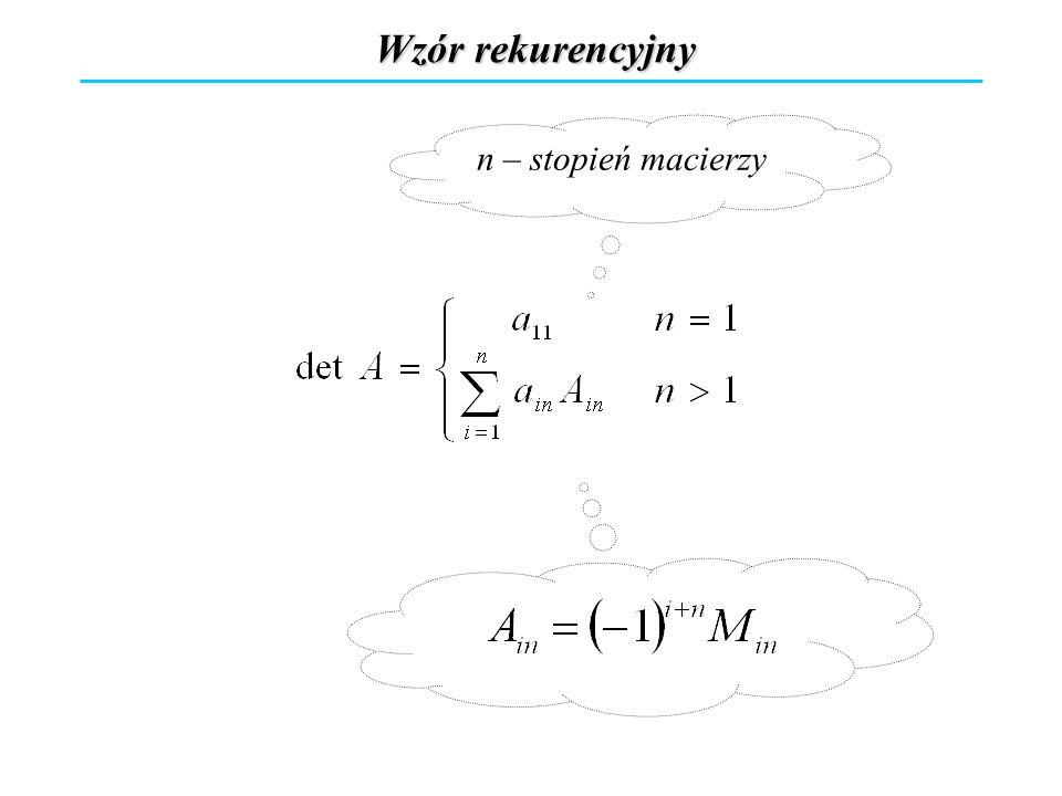 Wzór rekurencyjny n – stopień macierzy