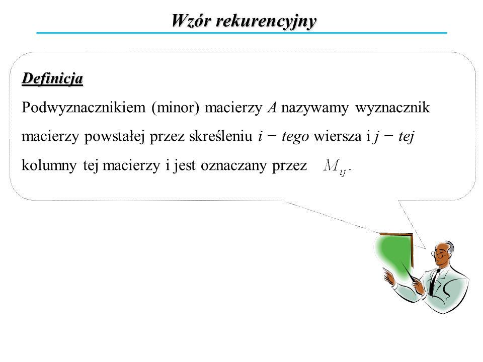Definicja Podwyznacznikiem (minor) macierzy A nazywamy wyznacznik macierzy powstałej przez skreśleniu i tego wiersza i j tej kolumny tej macierzy i je