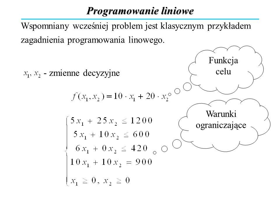 Programowanie liniowe Wspomniany wcześniej problem jest klasycznym przykładem zagadnienia programowania linowego. Funkcja celu - zmienne decyzyjne bil