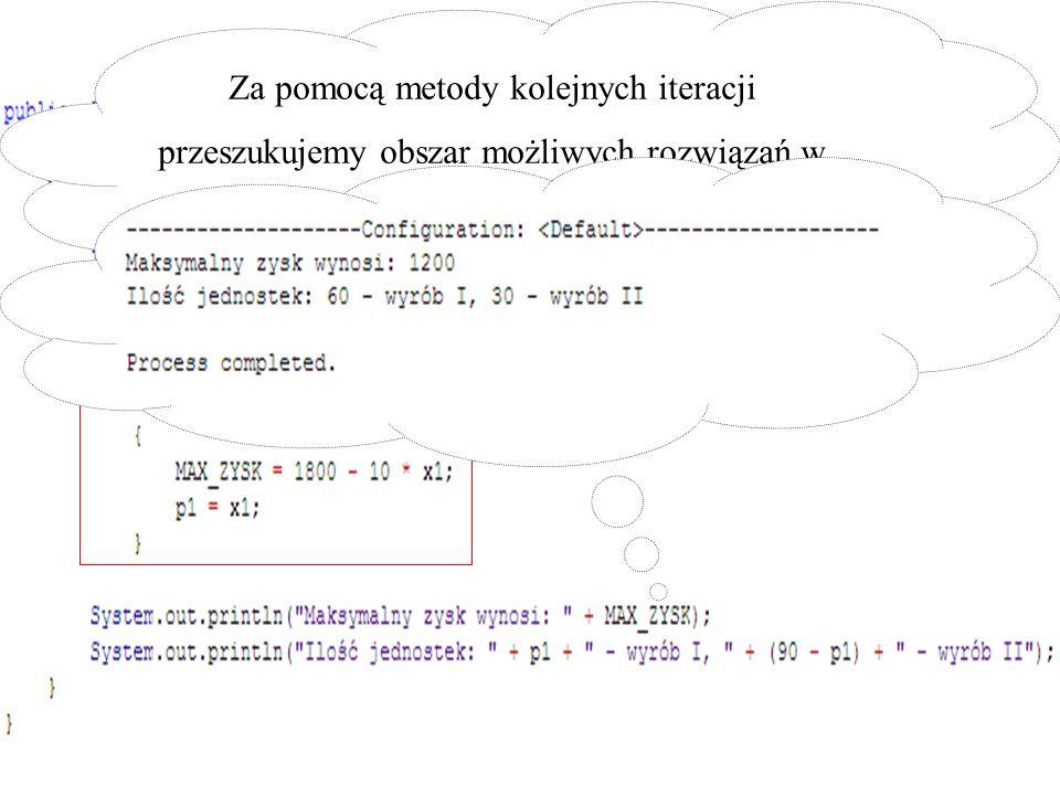 Za pomocą metody kolejnych iteracji przeszukujemy obszar możliwych rozwiązań w poszukiwaniu maksimum funkcji celu.