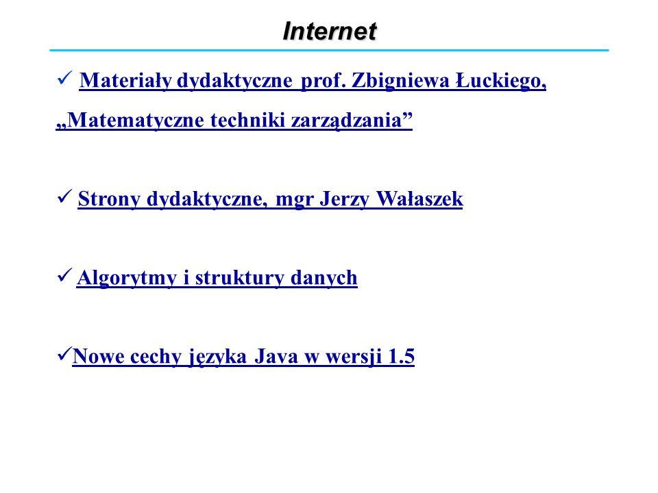 Internet Materiały dydaktyczne prof. Zbigniewa Łuckiego, Matematyczne techniki zarządzania Materiały dydaktyczne prof. Zbigniewa Łuckiego, Matematyczn