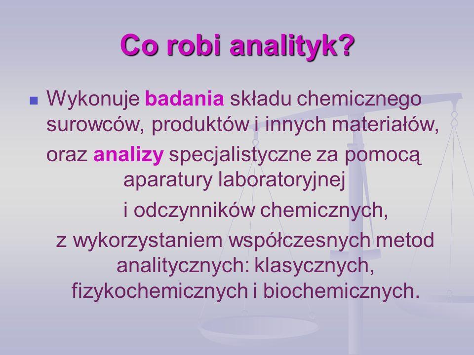 Zadania zawodowe pobieranie i przygotowywanie próbek materiału; dobieranie właściwej metody analitycznej, dostosowanej do badanego materiału; przygotowywanie roztworów oraz wykonywanie badań z wykorzystaniem odczynników, sprzętu i aparatury laboratoryjnej; obsługiwanie zestawów do wykonywania analiz specjalistycznych; konserwowanie sprzętu w celu zachowania jego sprawności i niezawodności;