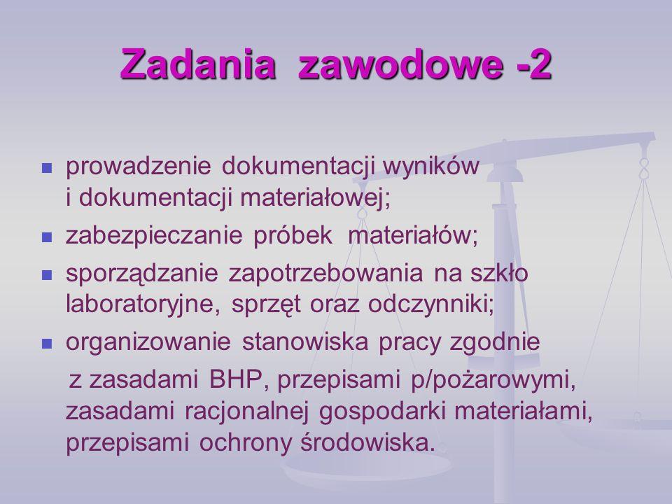 Zadania zawodowe -2 prowadzenie dokumentacji wyników i dokumentacji materiałowej; zabezpieczanie próbek materiałów; sporządzanie zapotrzebowania na sz