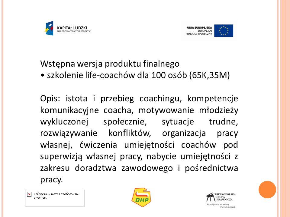 Wstępna wersja produktu finalnego szkolenie life-coachów dla 100 osób (65K,35M) Opis: istota i przebieg coachingu, kompetencje komunikacyjne coacha, m