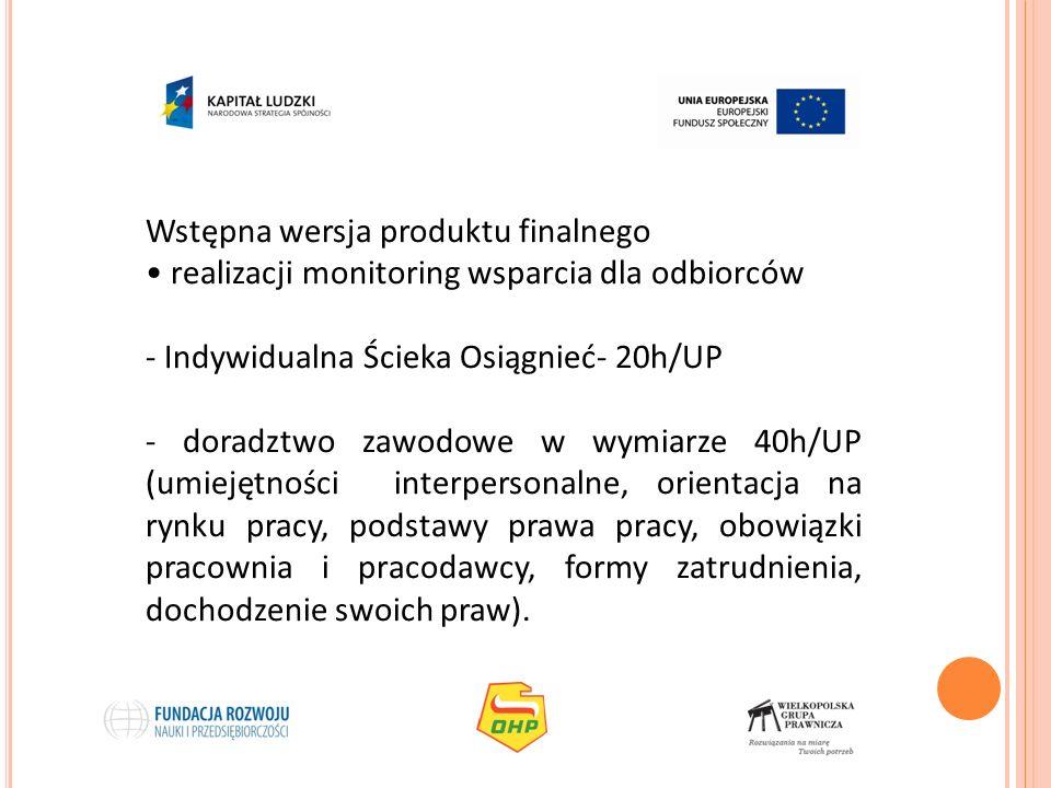 Wstępna wersja produktu finalnego realizacji monitoring wsparcia dla odbiorców - Indywidualna Ścieka Osiągnieć- 20h/UP - doradztwo zawodowe w wymiarze