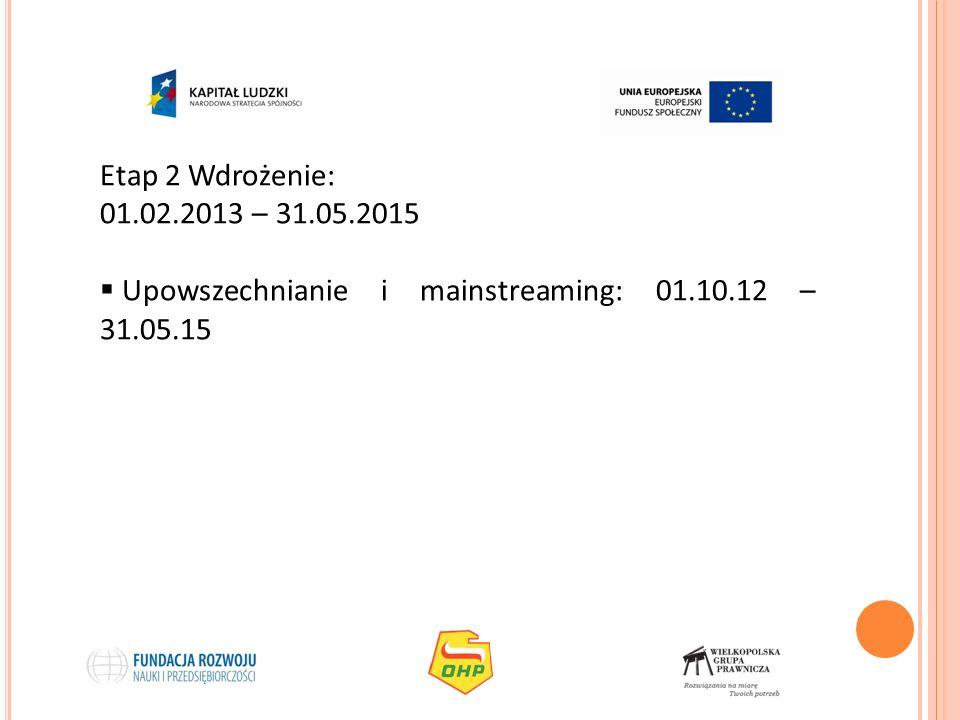 Etap 2 Wdrożenie: 01.02.2013 – 31.05.2015 Upowszechnianie i mainstreaming: 01.10.12 – 31.05.15