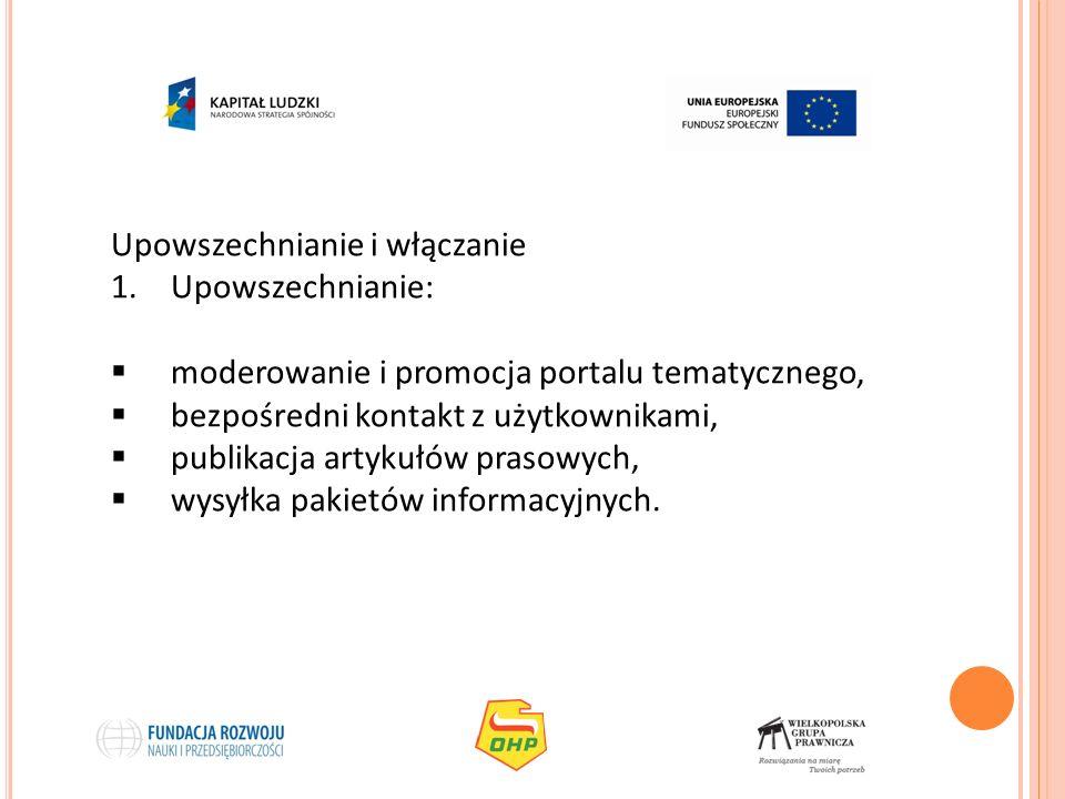 Upowszechnianie i włączanie 1.Upowszechnianie: moderowanie i promocja portalu tematycznego, bezpośredni kontakt z użytkownikami, publikacja artykułów