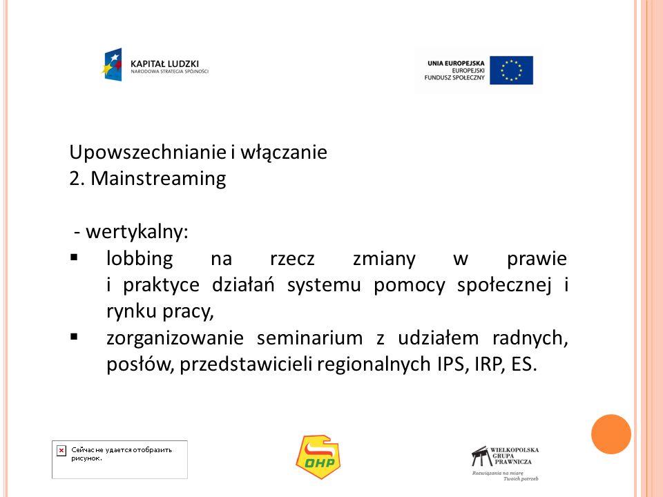 Upowszechnianie i włączanie 2. Mainstreaming - wertykalny: lobbing na rzecz zmiany w prawie i praktyce działań systemu pomocy społecznej i rynku pracy