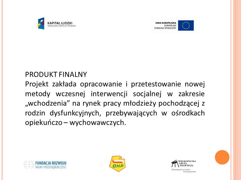 PRODUKT FINALNY Projekt zakłada opracowanie i przetestowanie nowej metody wczesnej interwencji socjalnej w zakresie wchodzenia na rynek pracy młodzież