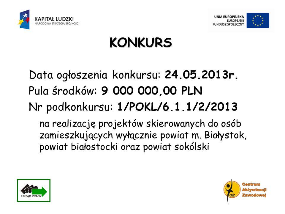 KONKURS Data ogłoszenia konkursu: 24.05.2013r. Pula środków: 9 000 000,00 PLN Nr podkonkursu: 1/POKL/6.1.1/2/2013 na realizację projektów skierowanych