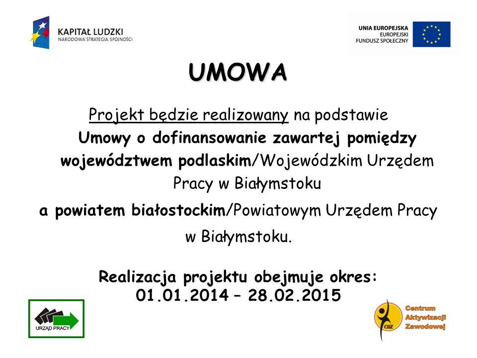 UMOWA Projekt będzie realizowany na podstawie Umowy o dofinansowanie zawartej pomiędzy województwem podlaskim/Wojewódzkim Urzędem Pracy w Białymstoku