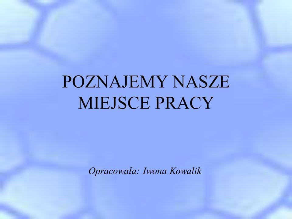 POZNAJEMY NASZE MIEJSCE PRACY Opracowała: Iwona Kowalik