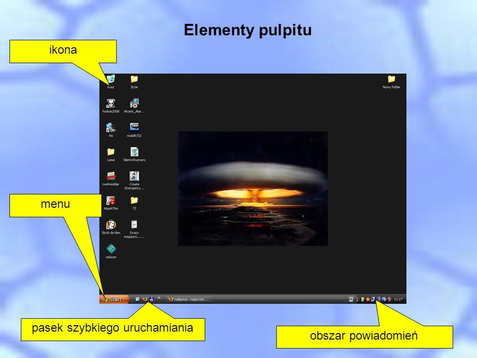 Elementy pulpitu ikona pasek szybkiego uruchamiania obszar powiadomień menu