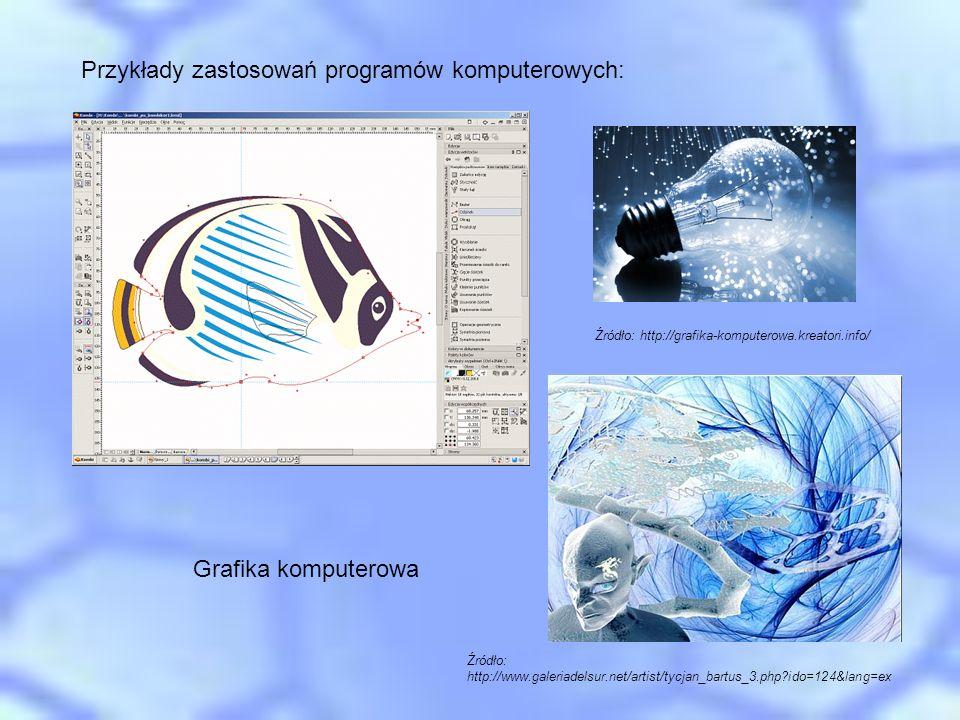 Przykłady zastosowań programów komputerowych: Grafika komputerowa Źródło: http://grafika-komputerowa.kreatori.info/ Źródło: http://www.galeriadelsur.n