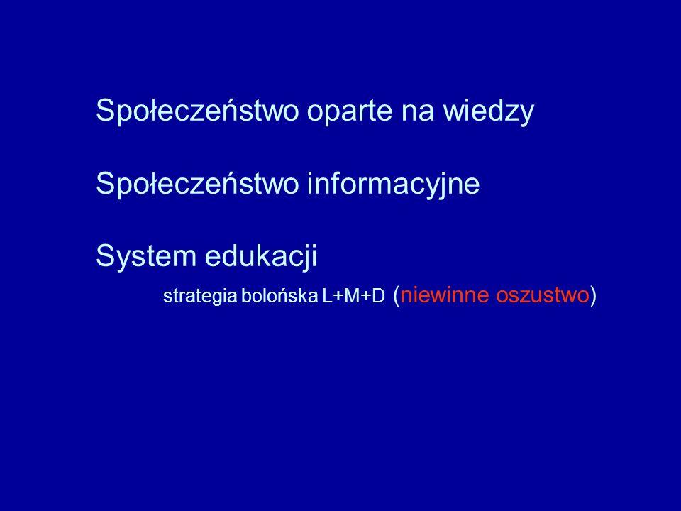 Społeczeństwo oparte na wiedzy Społeczeństwo informacyjne System edukacji strategia bolońska L+M+D (niewinne oszustwo)