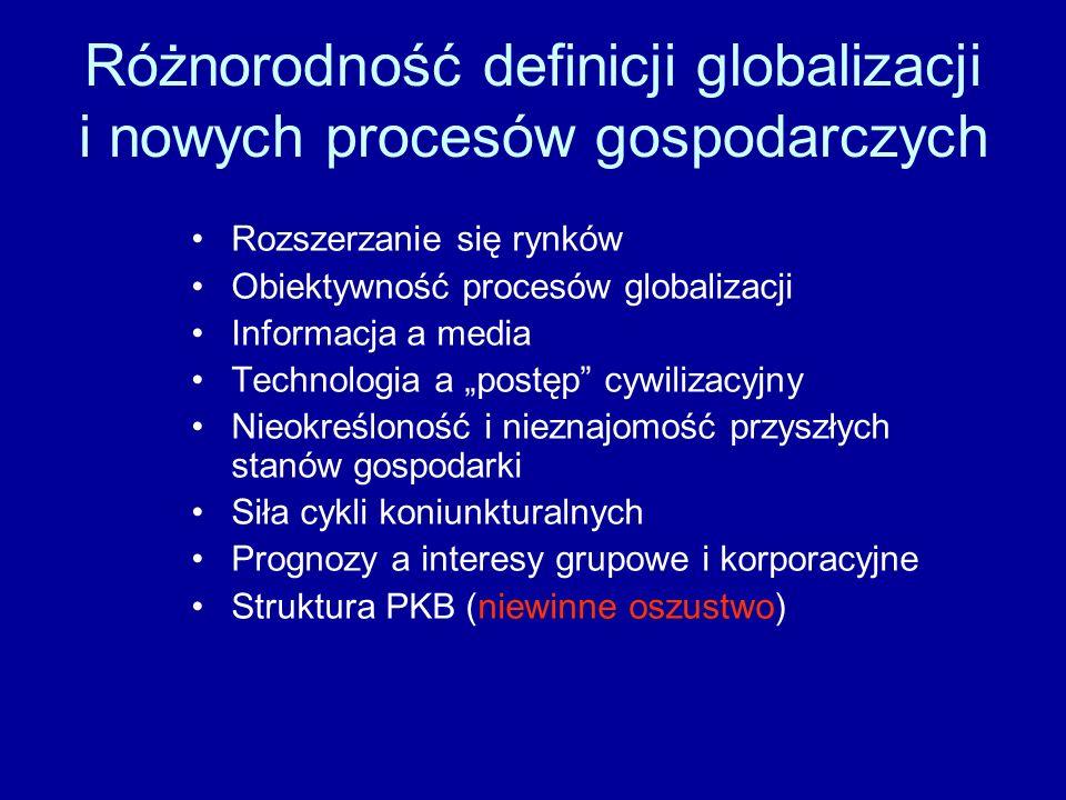 Różnorodność definicji globalizacji i nowych procesów gospodarczych Rozszerzanie się rynków Obiektywność procesów globalizacji Informacja a media Tech