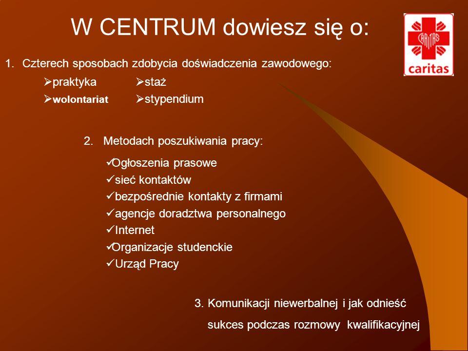 W CENTRUM dowiesz się o: praktyka wolontariat 2. Metodach poszukiwania pracy: Ogłoszenia prasowe sieć kontaktów bezpośrednie kontakty z firmami agencj