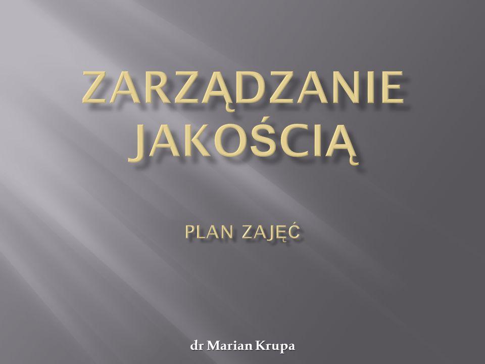 Zarządzanie jakością dr Marian Krupa ZALICZENIE Termin zaliczenia: Stacjonarne – 31 maja 2012 Niestacjonarne – 13 maja 2012