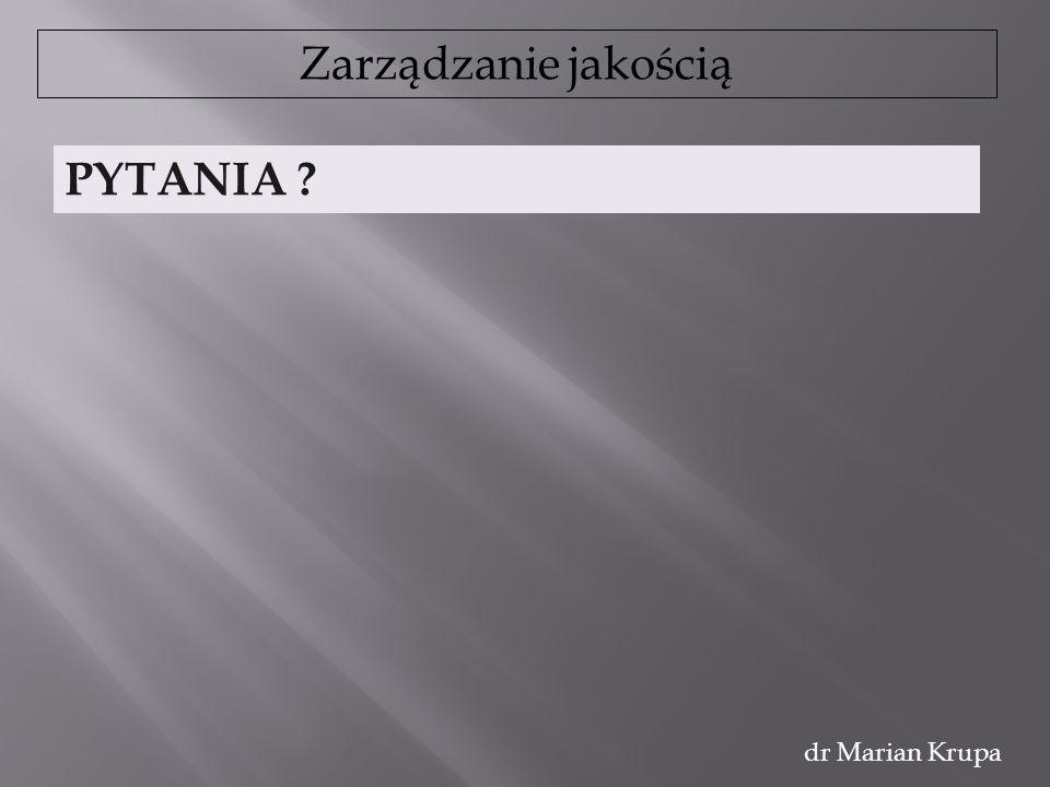 Zarządzanie jakością dr Marian Krupa PYTANIA ?