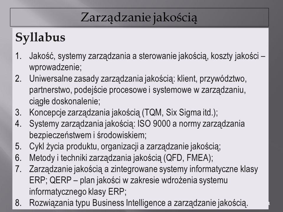 Zarządzanie jakością dr Marian Krupa Syllabus 1.Jakość, systemy zarządzania a sterowanie jakością, koszty jakości – wprowadzenie; 2.Uniwersalne zasady